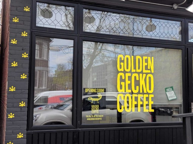 Brick Wrap Toronto, Signage, Wall Wrap Golden Gecko Coffee Shop- Vinyl Wrap Toronto - Window Graphics