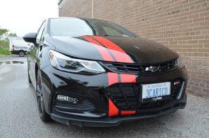 Red racing Stripe - 3M Film Wrap Series 1080 | Vinyl Wrap Toronto - Vehicle Wrap In Toronto
