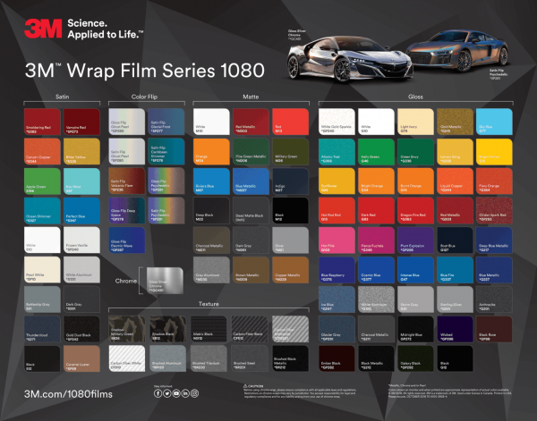 Car Wrap Colours - 3M Wrap Film Series 1080