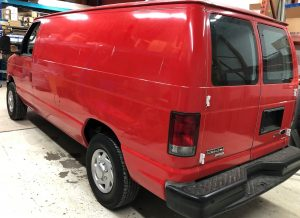 Vinyl Wrap Toronto Ford E150 2014 Removal Red White Van Before Rear - Vinyl Remove