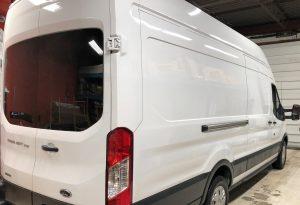 Vinyl Wrap Toronto Ford Transit 2019 Removal/Decals White Van Nusens before rear