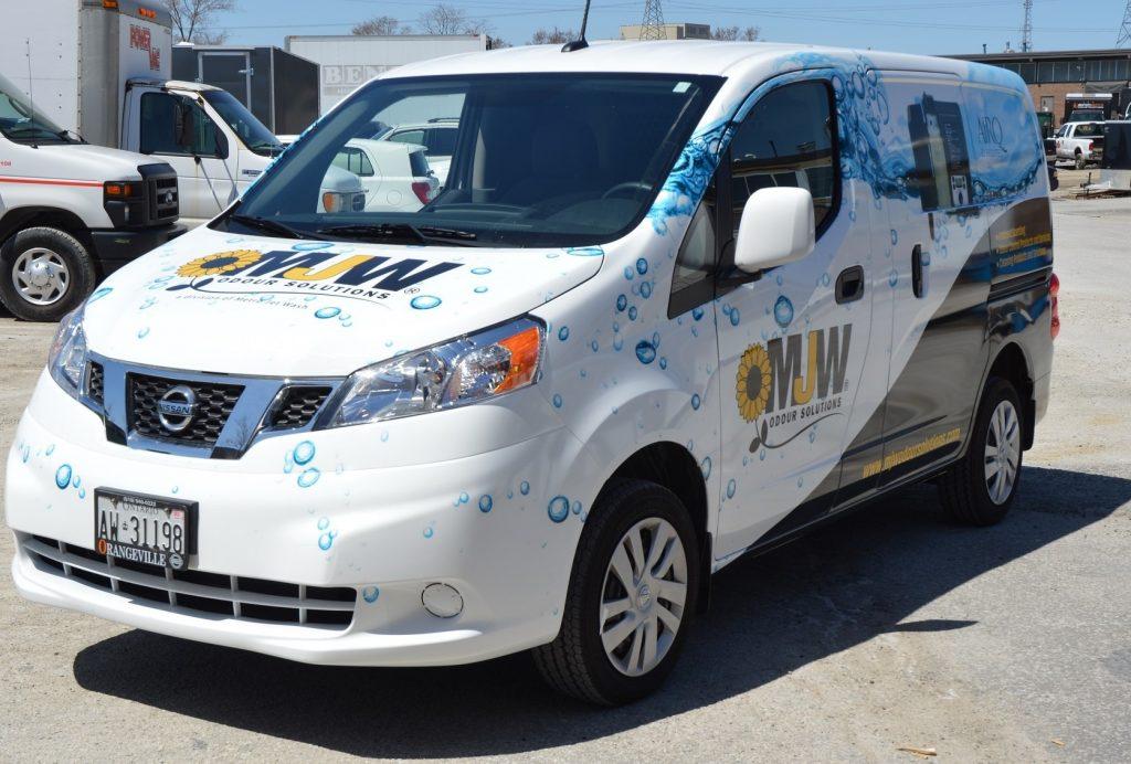 Vinyl Wrap Toronto Nissan Compact Cargo 2019 Avery Dennison White Van Partial Metro Jet Wash Main