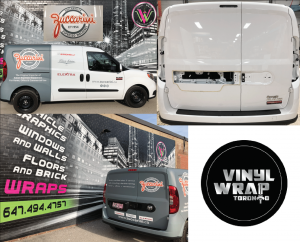 Vinyl Wrap Toronto Ram ProMaster City 2019 Avery Dennison White Van Partial Zuccarini Collage - Partial Van Wrap