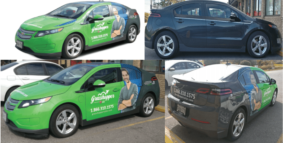 Vinyl Wrap Toronto Chevrolet Volt 2017 Avery Dennison Green Car Partial Grasshopper Collage