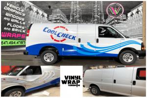 Vinyl Wrap Toronto GMC Savannah 2019 Avery Dennison White Truck Decal CoolCheck Collage - Van Decals