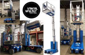 Vinyl Wrap Toronto Genie Vertical Mast Lift 2019 Avery Dennison Blue Equipment Decal Nusens Collage