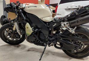 Vinyl Wrap Toronto Kawasaki Ninja ZX-10R 2019 Avery Dennison White Motorcycle Full Vinyl Wrap Toronto Dismantled - Bike Wrap