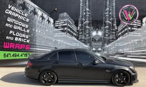 Vinyl Wrap Toronto Mercedes-Benz C63 AMG 2016 Avery Dennison Black Car Full Before Main