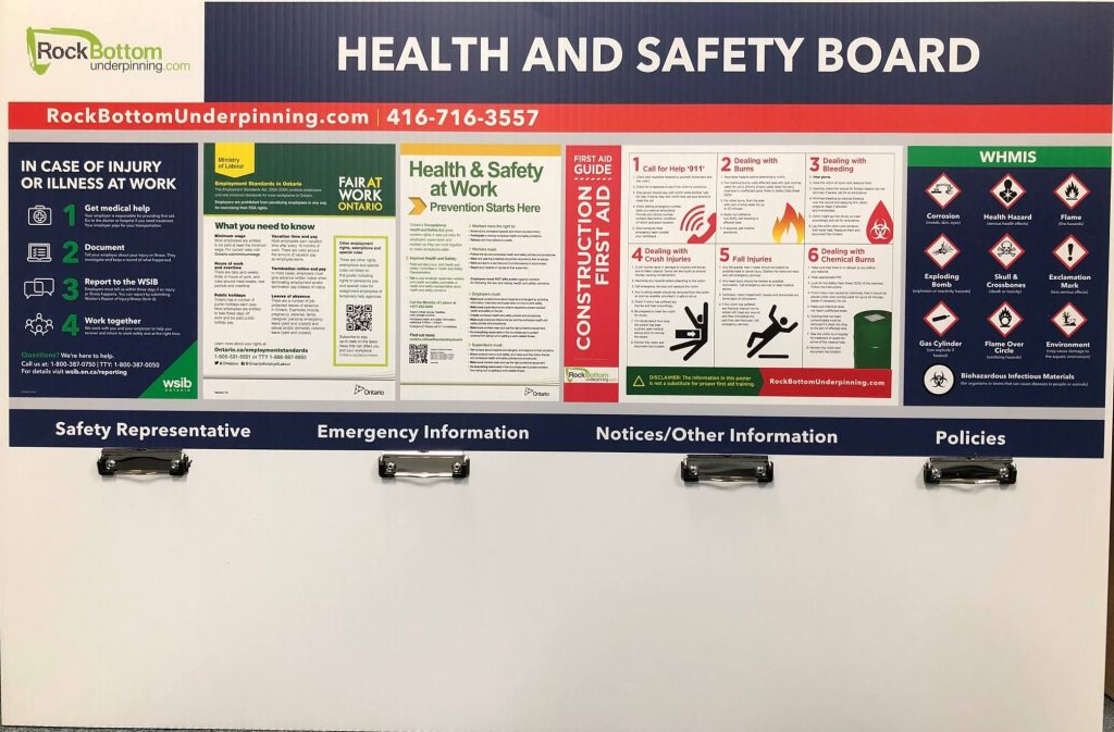 Vinyl Wrap Toronto Health and Safety Board RockBottom Work Emergency Information - Health Safety Signage