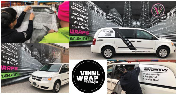 Vinyl Wrap Toronto Ram Caravan 2018 Avery Dennison White Van Decals Surgically Clean Air Collage