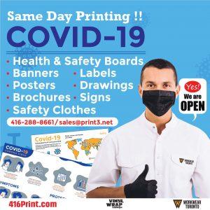 Vinyl Wrap Toronto Printthree Covid-19 Yes! We're Open - Printing