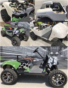 VinylWrapToronto Ezgo 2020 Avery Dennison Green Recreational Full Wrap Collage - Vehicle Wrap Cost