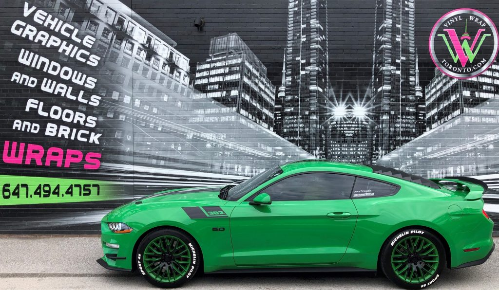 Vinyl Wrap Toronto Ford Mustang Coyote Green Decals Side Before - Vinyl Wrap Cost