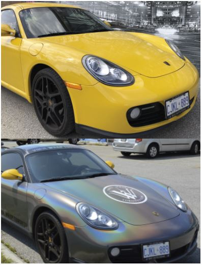 Vinyl Wrap Toronto Porsche unwrapped Yellow Cayman Carbon Fiber Before After front