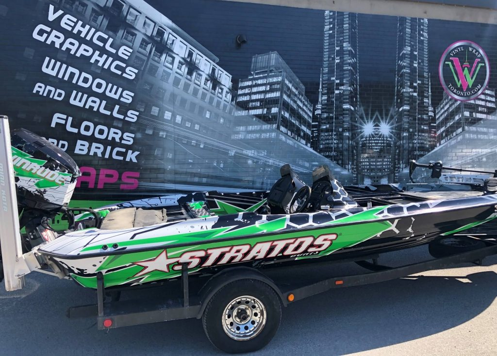 VinylWrapWrap Stratos Boat Full Wrap Avery Dennison Evinrude Right Side After Main