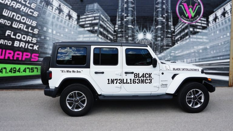Decals Jeep Black Intelligence Jeep Side second vinyl wrap Toronto jeep wrap - Vehicle Wrap, Auto tinting, Lettering, GTA