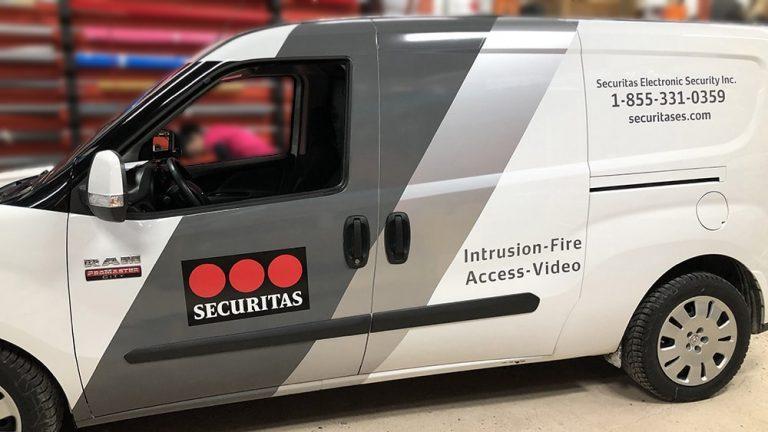 Decals - Van - Securitas Ram ProMaster City Side After - Lettering - Vinyl Wrap Toronto - Vehicle Wrap in Etobicoke