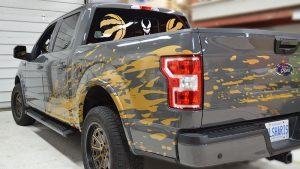 Ford F-150 2019 Super Crew 5.5 Box Decals - Personal 3 - Vinyl Wrap Toronto - Racing Stripes - Lettering & Decals