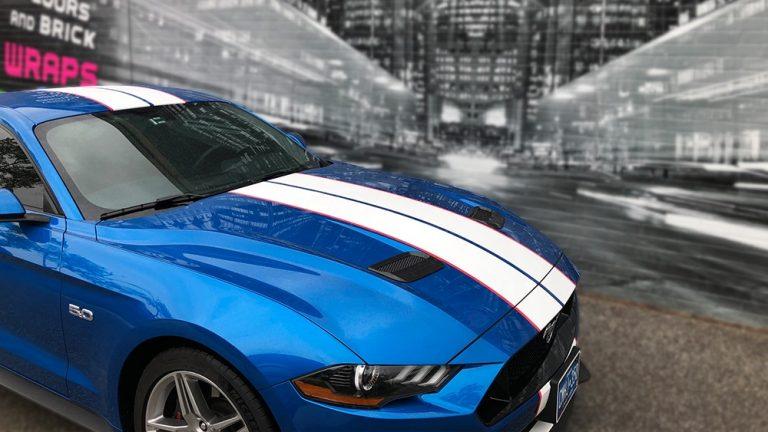 Ford Mustang 2019 Decals Persona vinyl wrap Toronto - racing stripes, decals, auto tinting, car wrap, etobicoke, brampton