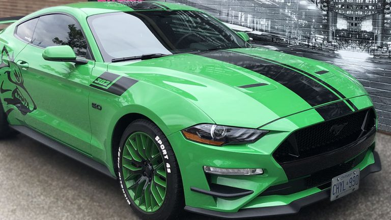 VinylWrapToronto Ford Mustang Coyote Green Decals Side After side view - Custom Vinyl Decals Cost