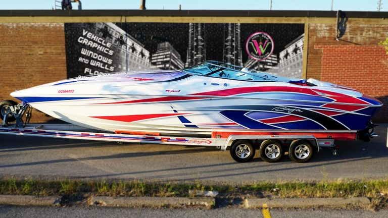 Full Wrap - Boat Wrap EDSS Eric - Baja 38 Feet Special - Full - After - Vinyl Wrap Toronto - Boat Wrap in Etobicoke - Custom Boat Wrap Cost in GTA