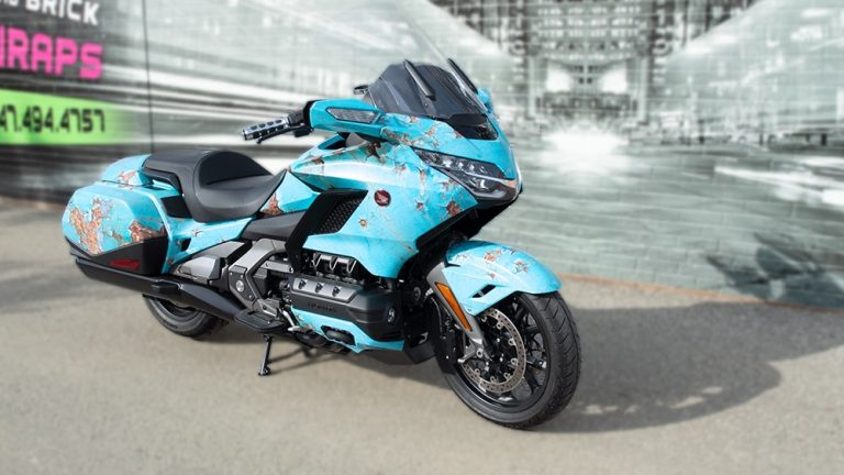 Full Wrap - Motorcycle - Honda Gold wing Rust - side - after - Vinyl Wrap Toronto - Racing Stripes - Vehicle Wrap in GTA
