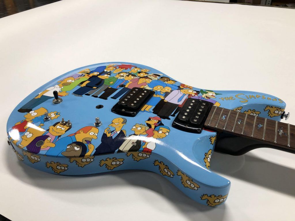 Full Wrap - Recreational - Guitar - The Simpsons Guitar Front Side After Blue Electric - Vinyl Wrap Toronto - 3M