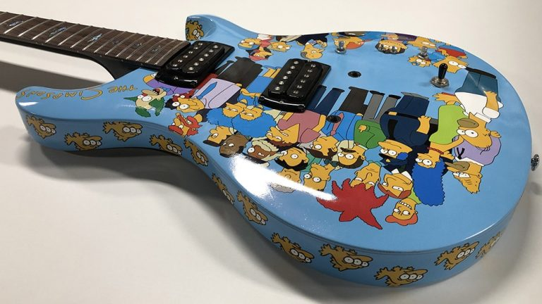 Full Wrap - Recreational Wrap - Guitar - The Simpsons Guitar Top Side After Blue Electric - Vinyl Wrap Toronto - Avery Dennison & 3M