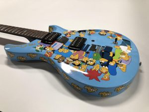 Full Wrap - Recreational - Guitar - The Simpsons Guitar Top Side After Blue Electric - Vinyl Wrap Toronto - 3M