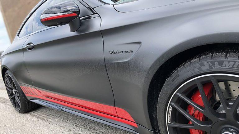 Vinyl Wrap Toronto Mercedes C63S 2020 Red Carmichael Black - Custom Vinyl Wraps Cost