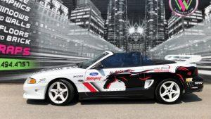 Partial Wrap Car Fine Tune-Auto Mustang Saleen Side-After vinyl wrap Toronto - Racing Stripes, Decals, Car Wrap, Etobicoke