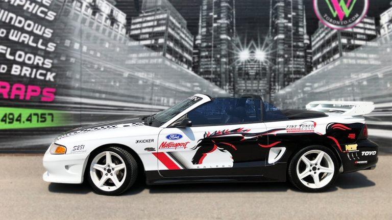 Partial-Wrap-Car-Fine-Tune-Auto Mustang Saleen Side Before motosportside vinyl wrap Toronto - Decals, Stripe Kits, Car Outline, Car Wrap, Brampton
