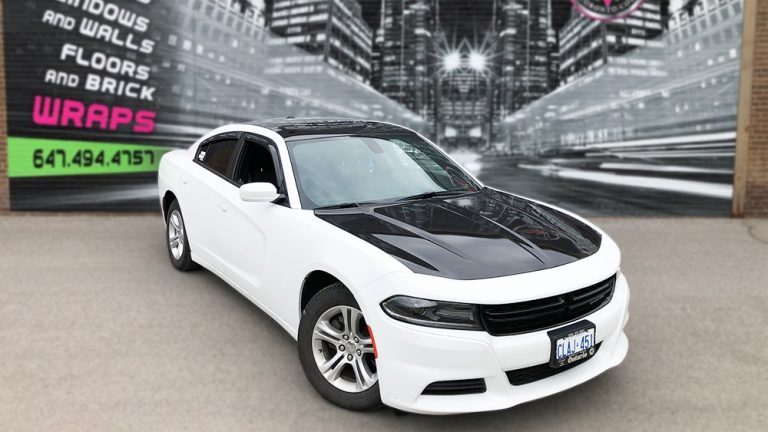 Partial Wrap Dodge Charger front view - Vinyl Wrap Toronto - Racing Stripes - Vehicle Wrap