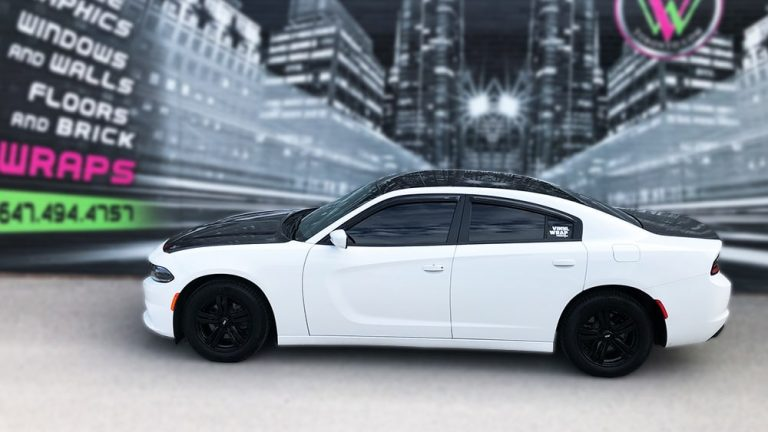 Partial Wrap Dodge Charger side - Vinyl Wrap Toronto - Lettering & Decals - Auto Tinting - Custom Car Graphics