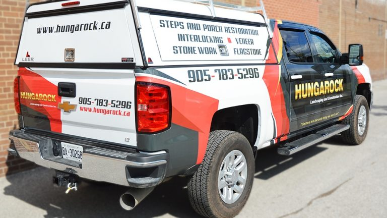 Partial Wrap Truck Hungarock Seirra Back After - Vinyl Wrap Toronto - Truck Wrap, decals, auto tinting, Brampton