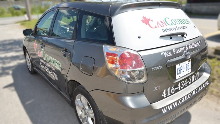 Car Decals | Can Courier- Back View Vinyl Wrap Toronto - Vehicle Wrap In Toronto - Print Shop - Custom Vinyl Wraps Cost