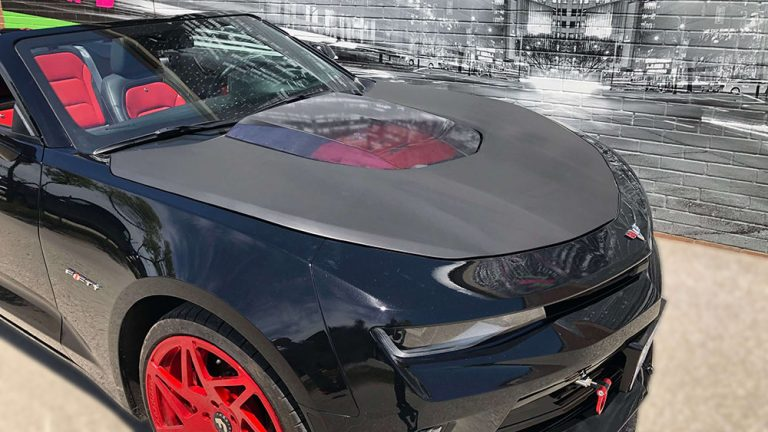 Vinyl Wrap Toronto Chevrolet Camaro Partial Hood Wrap Matte Black Avery Dennison - Vinyl Wrap Toronto - Vehicle Wrap