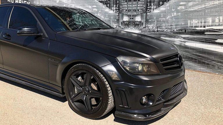 Vinyl Wrap Toronto Mercedes-Benz C63 AMG 2016 Avery Dennison Black Car Full Passenger After Front - Custom Vinyl Wraps Cost