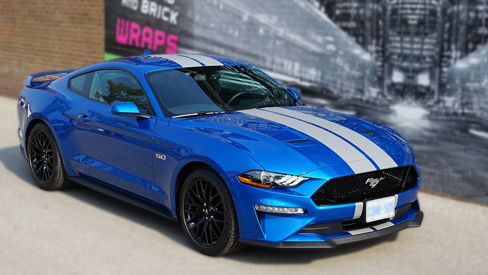 Ford Mustang - 2019 California Special Blue Side - Vinyl Wrap Toronto - Stripes - Avery Dennison & 3M