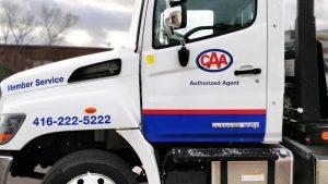 Hino 258 - 2019 - decals - CAA - Side Closeup - after - Vinyl Wrap Toronto - Vehicle Wrap in Etobicoke - Truck Wrap