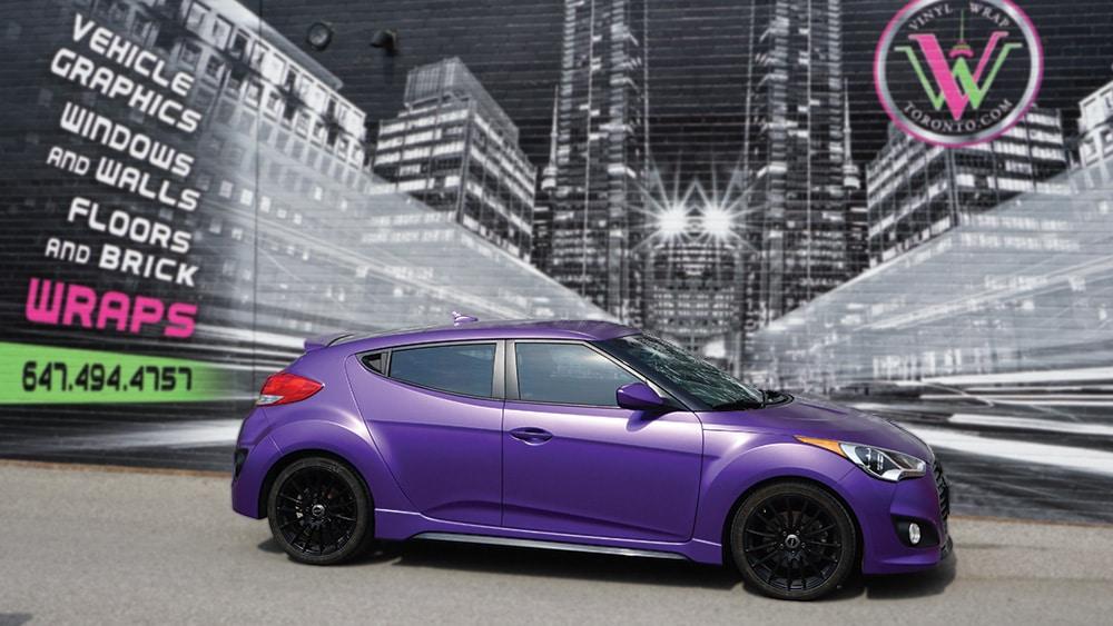 Hyundai Veloster 2016 - Vinyl Wrap Toronto - Full Car Wrap - Vehicle Wrap in GTA - Satin Purple - After - Avery Dennison & 3M - Tinting - Etobicoke - Car Wrap Cost