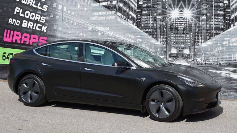 Tesla - Model S - 2020 - Full - Personal - Passenger Side - Satin Black - Full ca wrap near me - custom car wrap in GTA
