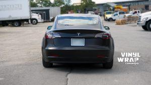 Tesla Model 3 2020 - Personal - Full Wrap - Vinyl Wrap Toronto - Back - Car Wrap in Brampton - Avery Dennison & 3M - Satin Black - Car wrap in GTA