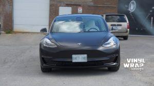Tesla Model 3 2020 - Personal - Full Wrap - Vinyl Wrap Toronto - Front - Vehicle Wrap in Mississauga - Satin Black - Car wrap cost