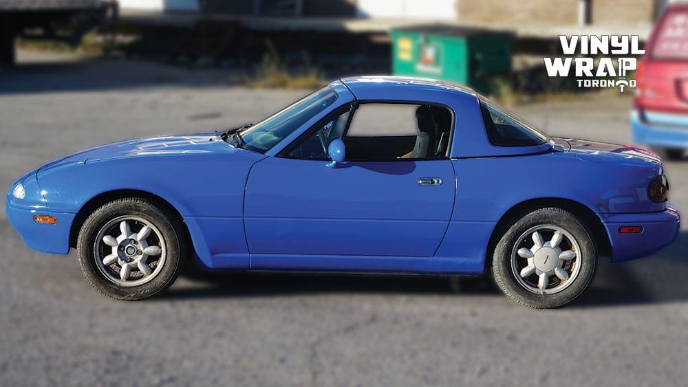 Mazda Miata 1990 - VinylWrapToronto.com - Full Wrap - Vinyl Wrap Toronto - Personal - After - Side - Custom car wrap near me