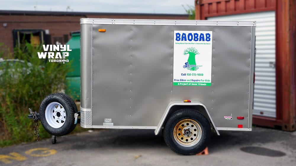 Steve's Bicycle Trailer - Charity - Vinyl Wrap Toronto - BAOBAB Side - Custom trailer wrap in GTA