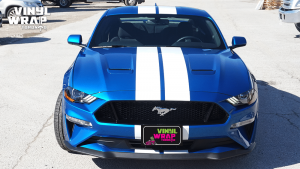 Ford Mustang California Special 2019 - Racing Stripes - White - VinylWrapToronto.com - Best Vehicle Wrap in GTA - Front