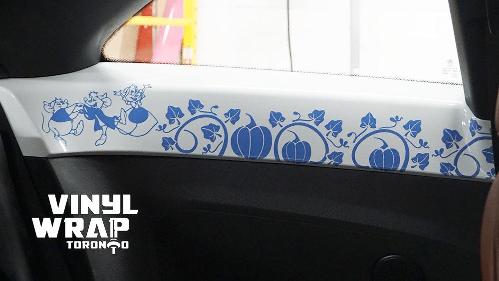 Volkswagen Beetle - Interior Vinyl Decals - Cinderella Story - Pumpkins - VinylWrapToronto.com - Blue - 3 Mice