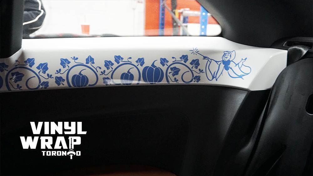 Volkswagen Beetle - Interior Vinyl Decals - Cinderella Story - Pumpkins - VinylWrapToronto.com - Blue - Fairy God Mother