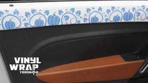 Volkswagen Beetle - Interior Vinyl Decals - Cinderella Story - Pumpkins - VinylWrapToronto.com - Blue - Side - Custom Car Wrap in GTA - Avery and 3M Vinyl